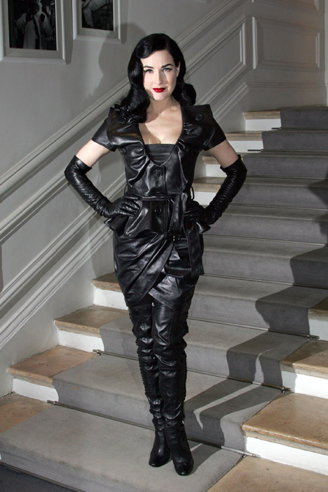 Dita Von Teese in Leather: Dior Paris January 25, 2010.
