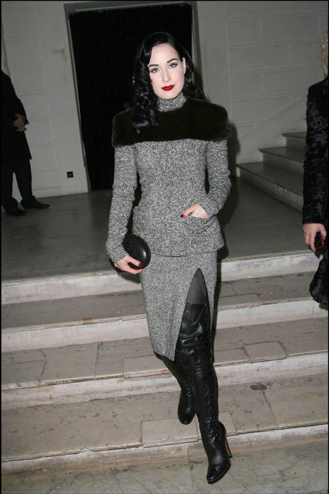 ita Von Teese attends the Jean Paul Gaultier Haute Couture Show, Paris, January 27, 2010.