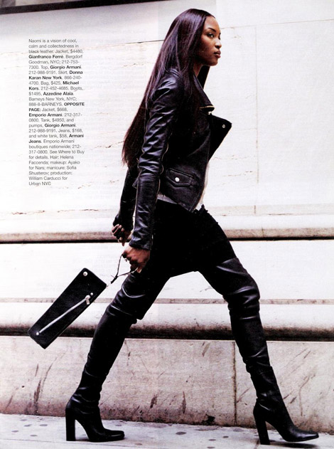 oot Fashion: Naomi Campbell in Azzadine Alaia Crotch High Boots. Bazaar US, December, 2003.
