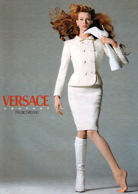Boot Fashion: Kristen McMenamy for Versace Fall/Winter 1995.