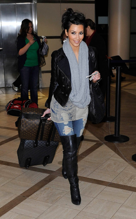 acc08c3084a2 Celebrities in Boots  Kim Kardashian in Thigh High Boots. Los Angeles  February 21
