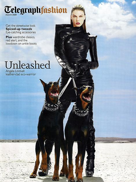 Boot Fashion: Angela Lindvall in Rick Owens Thigh High Boots. Telegraph Fashion, Fall 2009.