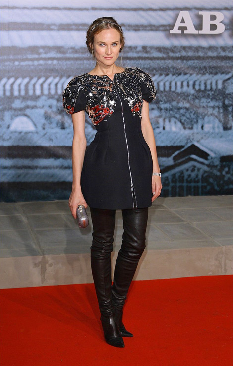 Diane Kruger in Chanel Thigh High Boots: Sherlock Homes Berlin Premiere, January 12, 2010.