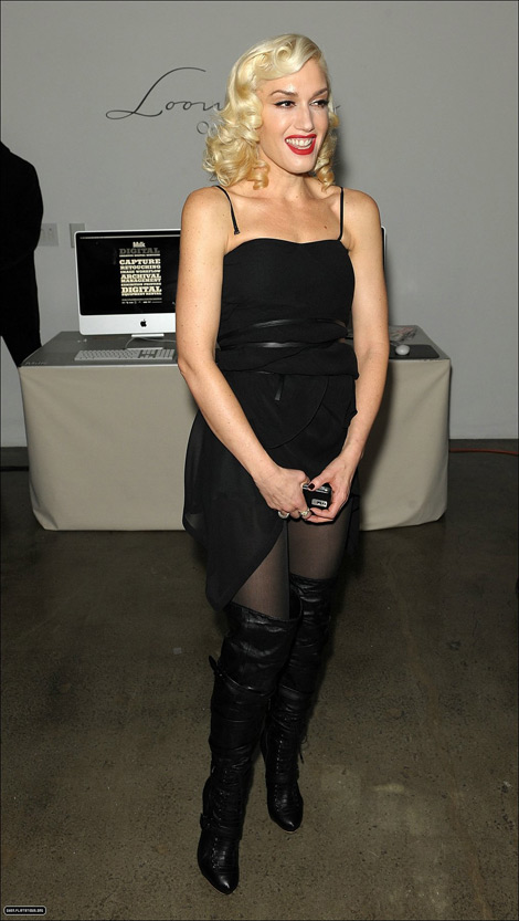 Celebrities in Boots: Gwen Stefani in Thigh High Boots. New York City, February 10, 2010.