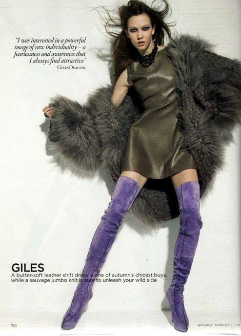 Boot Fashion: Karlie Kloss in Giles Deacon Purple Thigh High Boots. Vogue UK, August 2009.