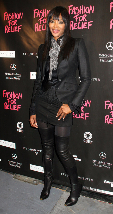 Celebrities in Boots: Naomi Campbell in Alexander McQueen Thigh High Boots. Fashion Relief for Haiti, NYC February 12, 2010.