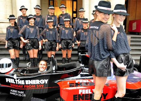 Kit Willow designs for the Qantas Grid Girls.