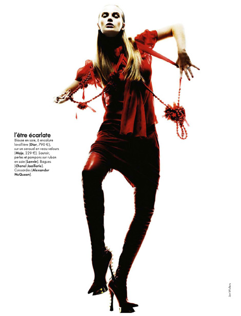 Boot Fashion: Anne Vyalitsyna in Alexander McQueen Thigh High Boots. Elle France, 12/2009.