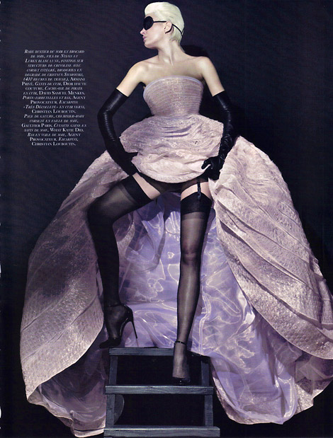 Leather Opera Gloves: Lily Donaldson in Dior Haute Couture. Vogue Paris, 05/2010.