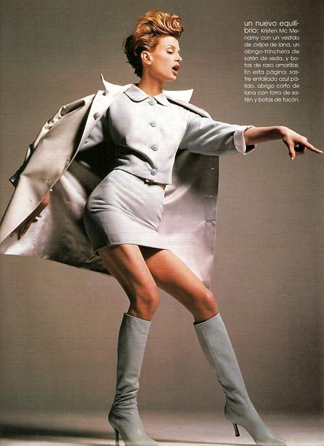 Boot Fashion: Kristen McMenamy in Knee High Boots. Versace. F/W 1995.