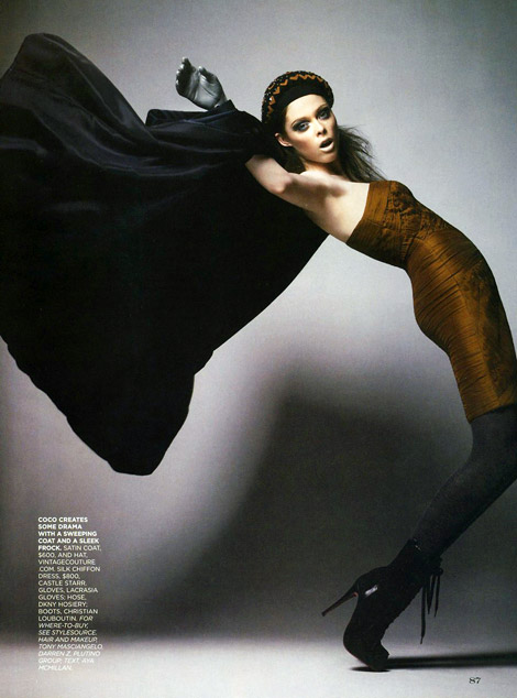 Boot Fashion: Coco Rocha in Christian Dior Boots and LaCrasia Gloves. Flare, 01/2008.
