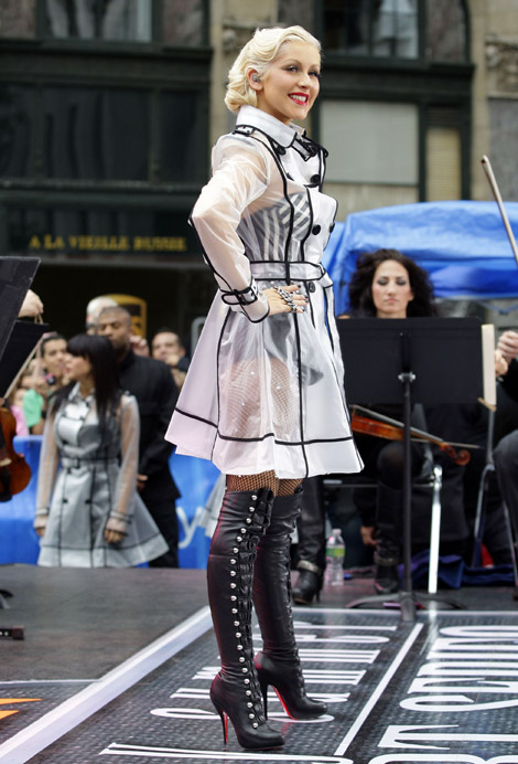 Celebs In Boots Christina Aguilera In Louboutin Over The