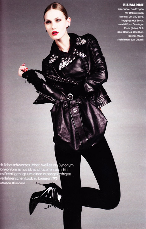 Boot Fashion: Tatyana Usova in Cavalli Patent Boots. Elle Germany, 08/2009.