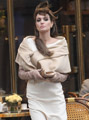 Celebrities in Gloves: Angelina Jolie in Opera Gloves. 'The Tourist' on set. Paris, 02/2010.