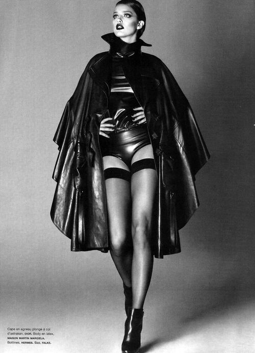 Leather Fashion: Emily Didonato. The Christian Dior Leather Cape. Numéro #115, 08/2010.