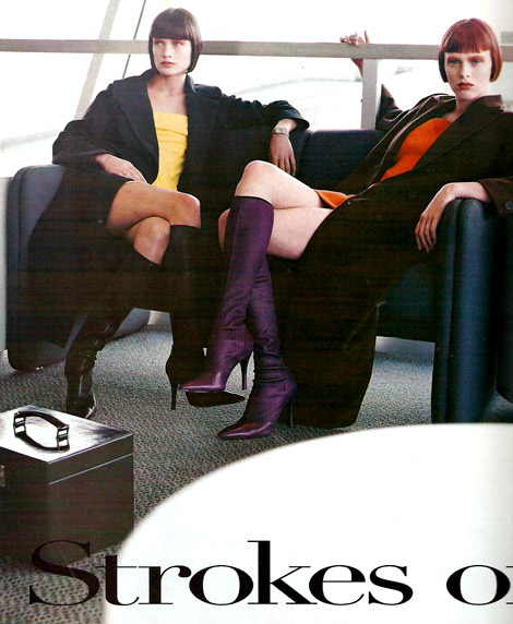 Boot Fashion: Karen Elson in Purple Knee Boots. Vogue US, 08/1997.