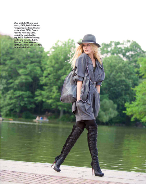 Boot Fashion: Cassandra Smith in Cesare Paciotti Over The Knee Boots. Marie Claire UK, 10.2010.