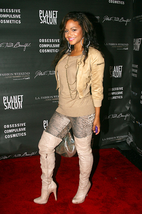 Celebrities in Boots: Christina Milian in Thigh High Boots. Los Angeles, CA. 10.17.2010.