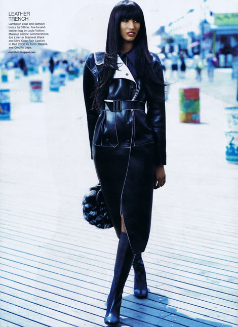 Leather/Boot Fashion: Sessilee Lopez in Celine Leather Trench and Boots. Allure, 10.2010.