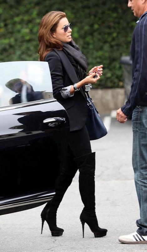 Celebrities in Boots: Eva Longoria in Cesare Paciotti Thigh High Platform Boots. Studio City, CA. 10.16.2010.