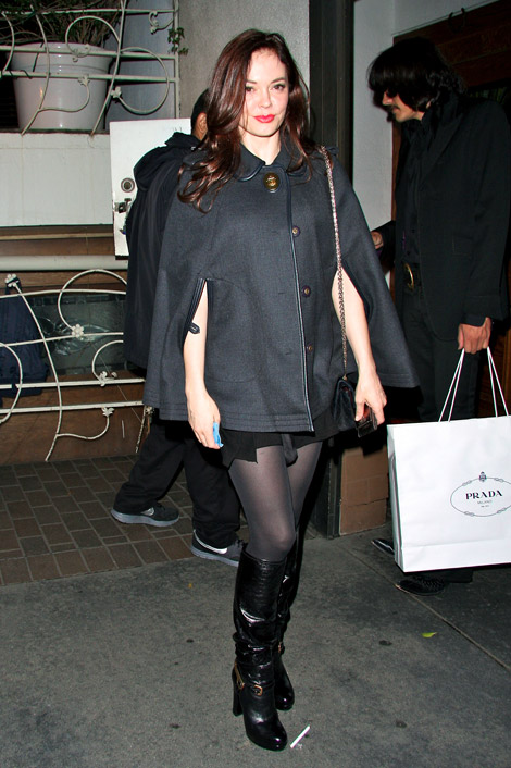 Celebrities in Boots: Rose McGowan in Knee High Fendi Boots. Los Angeles, 10.21.2010.