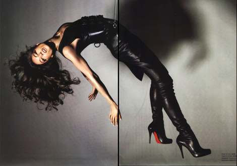 Boot Fashion: Jessica Miller in Christian Louboutin Thigh High Boots. Numéro 82.