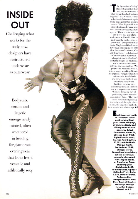 Boot Fashion: Helena Christensen in Jean Paul Gaultier Thigh High Boots. Vogue UK, 02/1991.