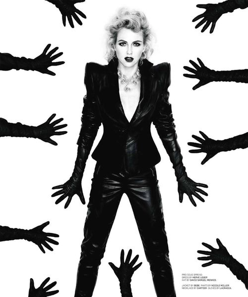 Celebrities in Gloves: Naomi Watts in La Crasia Leather Gloves. Blackbook, 05/2010.