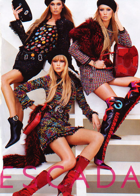 Boot Fashion: Erin Wasson, Raquel Zimmermann, and Julia Stegner for Escada. F/W/ 2004.
