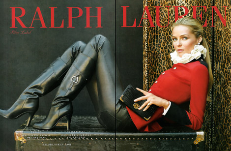 Boot Fashion:Valentina Zelyaeva for Ralph Lauren Blue Label Leather. F/W 2010.