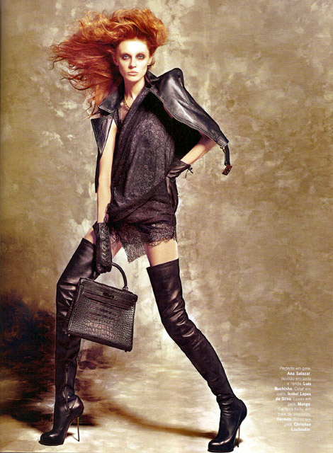 Boot Fashion: Olga Scherrer in Christian Louboutin Thigh High Boots. Vogue Portugal, 09/2010.
