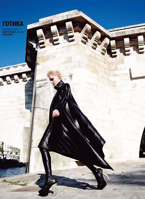 Boot Fashion: Elana Mityukova in DSquared Thigh High Boots and Gareth Pugh Leather. Marie Claire Russia, 09/2010.