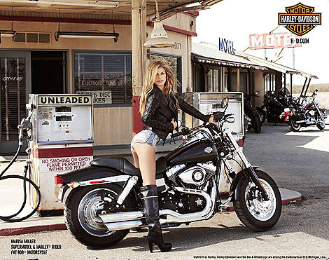 Celebrities in Boots: Marissa Miller in Knee High Boots. Harley Davidson, 2010.