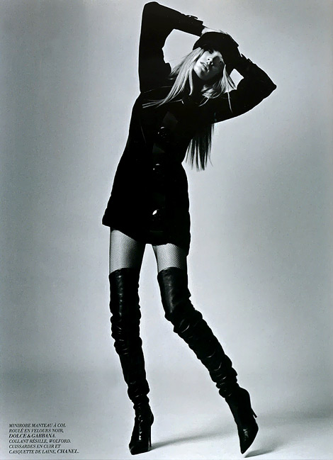 Boot Fashion: Leah De Wavrin in Chanel Thigh High Boots. L'Officiel France, 08/2005.
