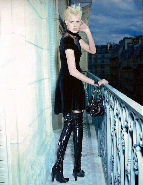 Boot Fashion: Agyness Deyn in Patent Over The Knee Boots. Blumarine, 2007.