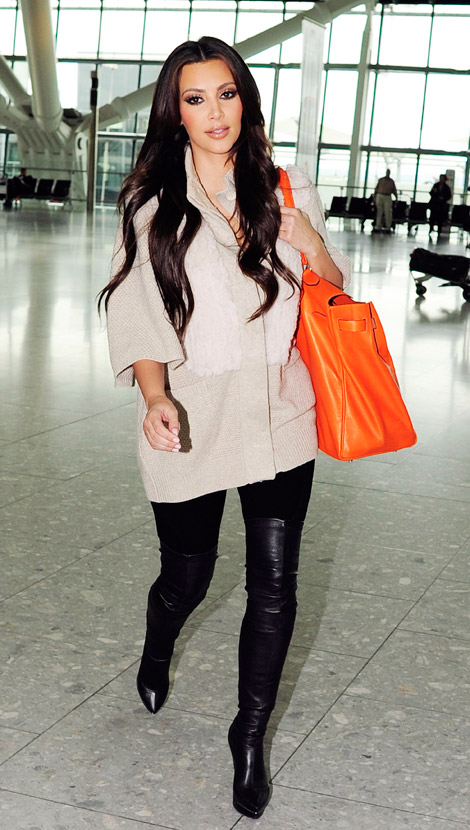 Celebrities in Boots: Kim Kardashian in Thigh High Boots. London ...