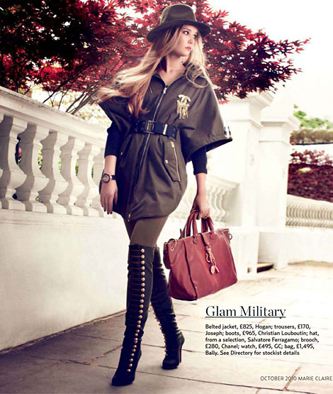 Boot Fashion: Cassandra Smith in Christian Louboutin Over The Knee Boots. Marie Claire UK, 10.2010.
