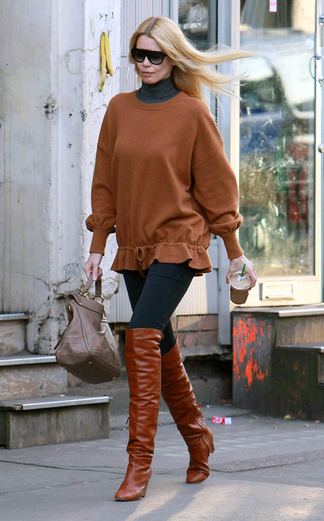 Celebrities in Boots: Claudia Schiffer in Chanel Over The Knee Boots, London, 11.24.2010.