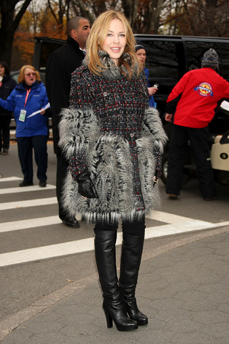 Celebrities in Boots: Kylie Minogue in Over The Knee Boots. NYC, 11.24.2010.