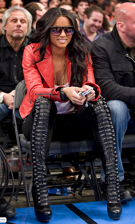 Celebrities in Boots: Ciara in Christian Louboutin Over The Knee Boots. New York City, 12.22.2010.