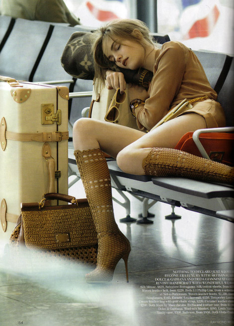 Boot Fashion: Julija Step in Gucci Woven Leather Knee Boots. Vogue UK, 02.2011.