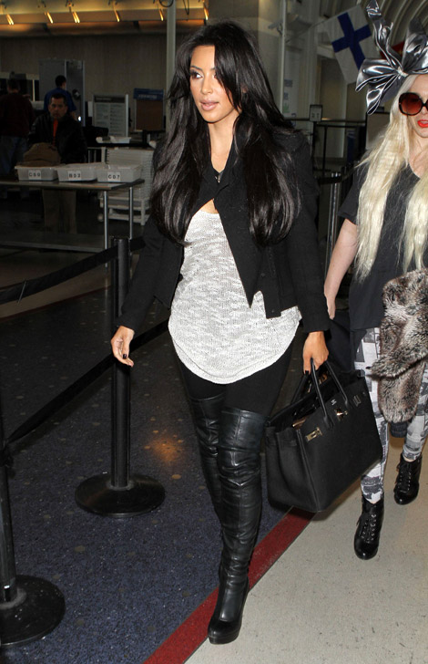 1cd91150d5ff Celebrities in Boots  Kim Kardashian in Christian Louboutin Thigh High Boots.  Los Angeles