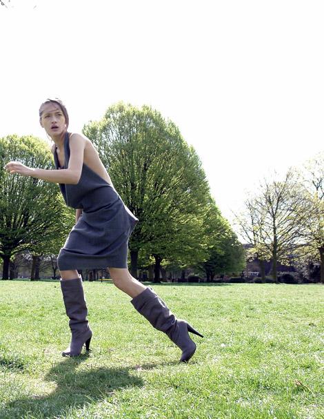 Boot Fashion: Cornelia Tat in Knee High Boots. Kitten Magazine, 06.2010.