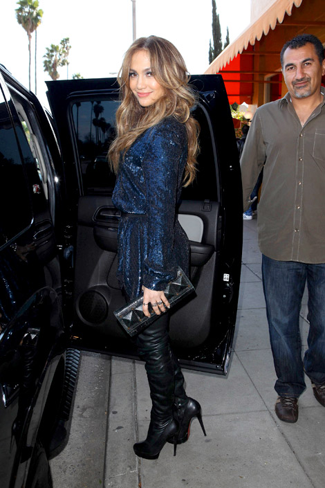 Celebrities in Boots: Jennifer Lopez in Christian Louboutin Thigh High Boots. Los Angeles, 02.22.2011.