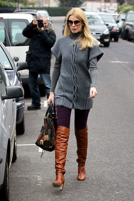 Celebrities in Boots: Claudia Schiffer in Chanel Over The Knee Boots, London, 12.08.2010.