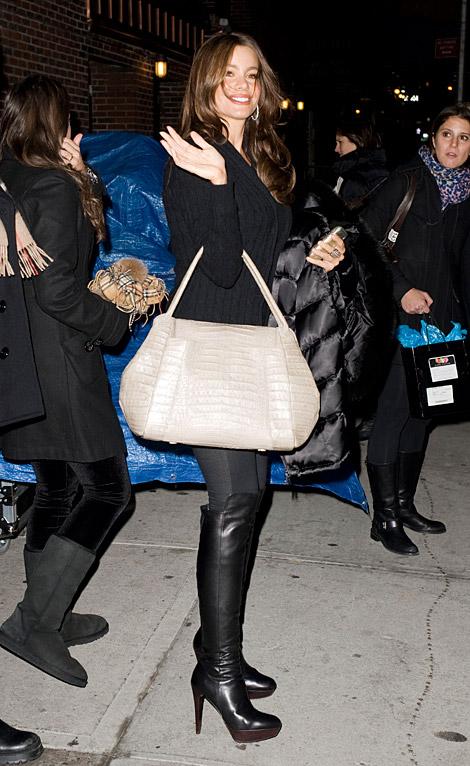 Celebrities in Boots: Sofia Vergara in Stuart Weitzman Platform Knee Boots. Late Night With David Letterman, 12.21.2010.