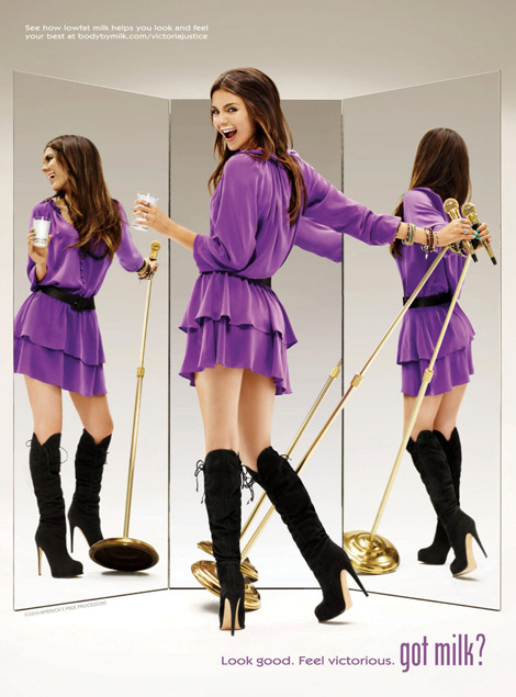 Celebrities in Boots: Victoria Justice in Knee High Boots. Got Milk Ad, 2010.