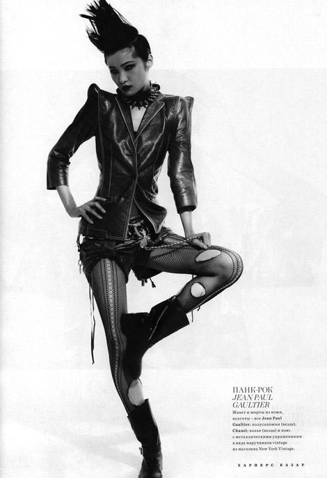 Leather Fashion: Wang Xiao in Jean Paul Gaultier Leather, Harper's Bazaar Russia, 02.2011.