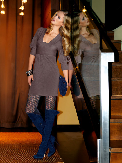 Boot Fashion: Tetyana Piskun in Blue Over The Knee Boots. Oroblu Look Book, F/W 2010.