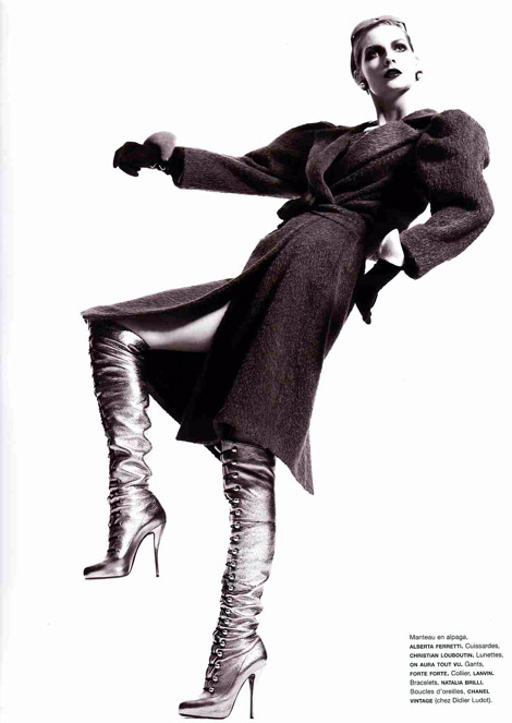 Boot Fashion: Karolin Wolter in Over The Knee Christian Louboutin Boots. Numéro Magazine 105, 08.2009.